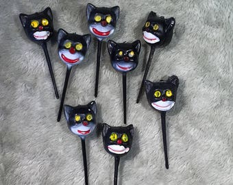 Vintage Halloween Plastic Black Cat Picks