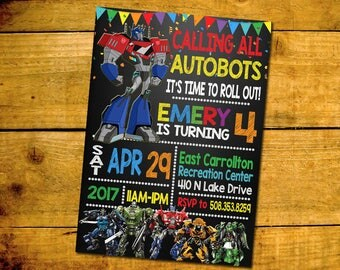 Transformer Birthday Invitation -Transformer Birthday Party Invitation -Transformer Printable Digital File-Transformer Invitation