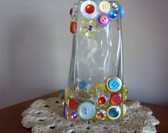 Buttons and Gems Bottle/Vase