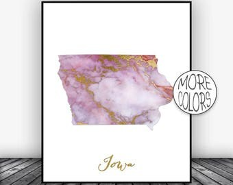 Iowa Art Print Iowa Decor Iowa Print Iowa Map Art Marble Art Map Print Map Wall Art Marble Decor ArtPrintsZoe