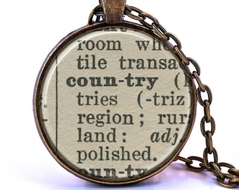 Country Dictionary Pendant Necklace