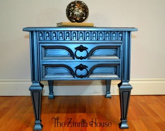SOLD - Blue Metallic End Table