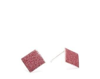 Diamond - Blush enamel earring studs