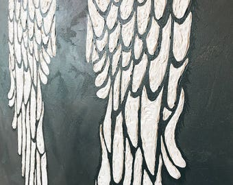 Textured Angel Wing Acrylic Painting