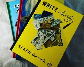 """Inspirational Vintage style notebook/notepad """"Write clearly speed the work"""""""