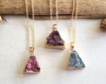 Druzy Raw Quartz Pendant Necklace, Crystal Necklace