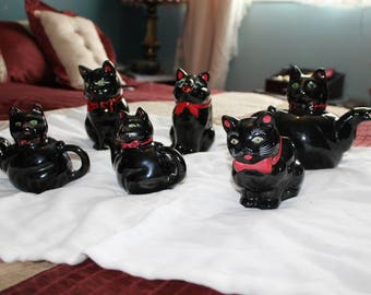 STAFFORD 1951 Black Cat Tea Set