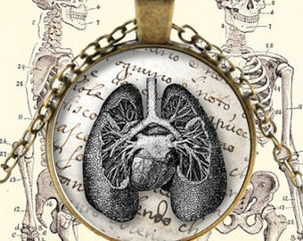 Antique Lungs Diagram Pendant