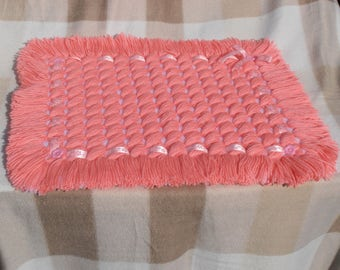 Handmade Blanket Formed in a Criss-Cross Design with fringe edging all round - Salmon Pink & White, Baby Blanket, Moses basket/car seat/pram