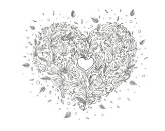 Heart , Drawing , Coloring Pic