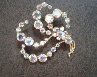 Gold plated clear stone/glass Costume Brooch