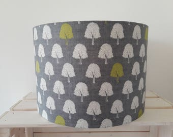 Grey Drum Lampshade with White and Lime Green Trees
