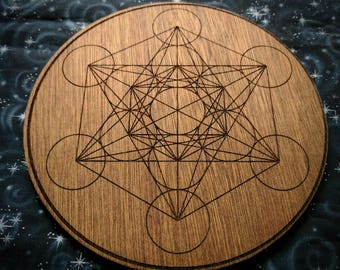 Crystal Grid for Meditation with Flower of Life and Metatron's Cube Double Sided