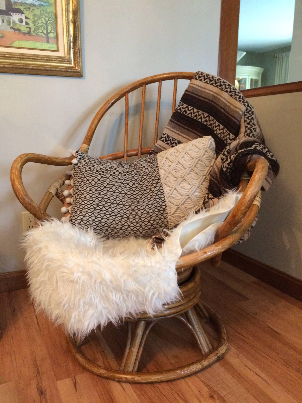 MCM Rattan Swivel Rocking Egg Chair Bohemian Chair Boho