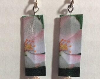 Apple Blossom Paper Earrings