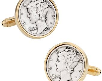Mercury Dime Cufflinks -- Quality Coins