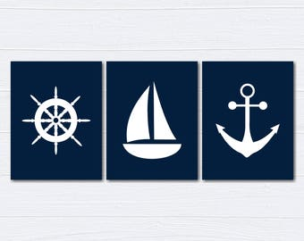 Nautical Nursery Decor/Nursery Wall Art/ Kids Bedroom Decor/Ship's Wheel/Anchor/Nursery Canvas/ Set of 3