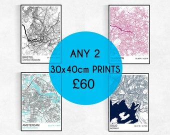 TWO 30x40cm City Map Prints, Custom City Map Prints, Street Map, Personalized, Wedding, Housewarming Gift, Graduation, Map Wall Art