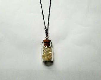 Potion Bottle Necklace Citrine Crystal Necklace Crystal Potion Bottle Necklace