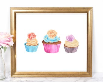 Pastel Cupcakes 8x10 Printable, Instant Download, Cupcake Girl Birthday Sign, Cupcake Party Sign, Cupcake Decor, Cupcake Party Decorations