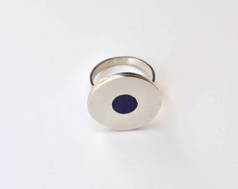 Silver and Lapis Moon Ring, Lapis Moon Ring, Silver Moon Ring, Lapis Ring, Silver Ring