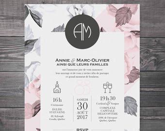 Wedding invitation, digital announcement - Flowers, black and white, modern, pink, romantic, vintage, Kraft