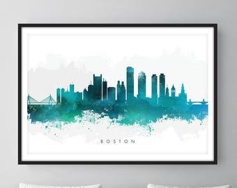 Boston Skyline, Boston Massachusetts Cityscape Art Print, Wall Art, Watercolor, Watercolour Art Decor [SWBOS07]