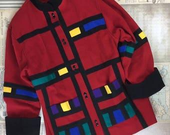 Piet Mondrian Coat Composition Wool Vintage Mod Art Womens Large Multi Color Rare Jacket YSL Collection Inspiration Geometric Large 70s