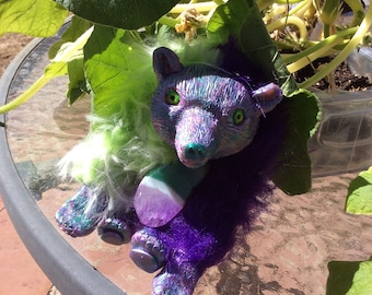 OOAK Purple and Green Bear with Agate Art Doll