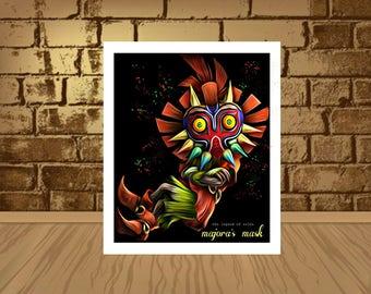Legend of Zelda Majora's Mask Epic Game Poster  quality giclée fine art print,Majora's Mask poster,Majora's Mask print,movie