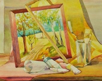 Original watercolor painting, Still-life, Attributes Of The Artist - Original Watercolour Home Decor