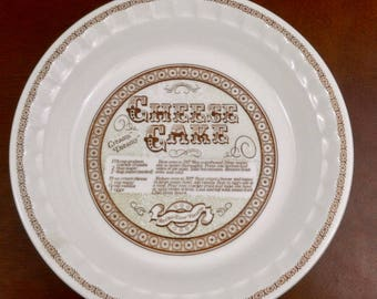 Vintage Pie Plate Royal China by Jeannette Corp. Cheese Cake Recipe Pie Plate Pie Pan Made in USA DW, Oven, and Microwave Safe