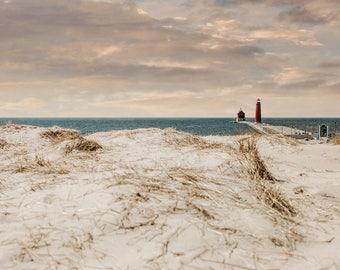 Lighthouse Photography, Lighthouse Print, Lake Michigan Photography, Grand Haven Photography, Great Lakes Photography, Beach Print