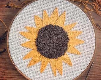Hand-embroidered Sunflower