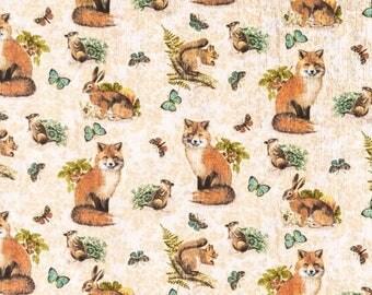 Cotton fabric, fabric by the yard, sewing fabric, nursery fabric, spring fabric, craft fabric, apparel fabric, fox fabric, fabric quarter