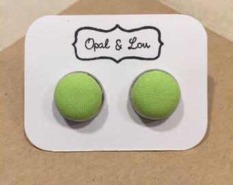 Lime Green Fabric Button Earrings