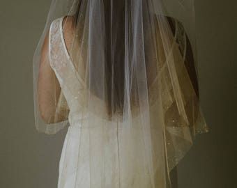 Gilda Veil - Hand Painted Gilded Gatsby Inspired Tulle Double Layer or Mantilla Bridal Veil