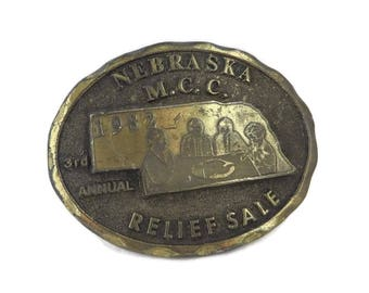 Vintage Belt Buckle, Nebraska M.C.C. Buckle, Men's Belt Buckle, 1982 Nebraska Collectors Buckle