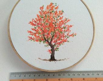 """Summer tree on 7"""" hoop."""