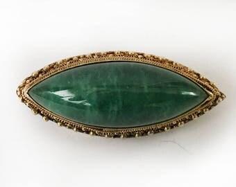 Vintage silver, filigree, malachite, beautiful brooch