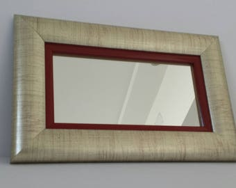 Mirror framed with silver red frame, small mirror, decorative mirror, wall mirror, gift, home mirror,