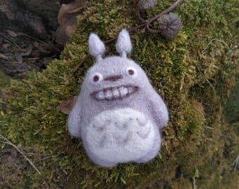 Felted wool brooch My Neighbor Totoro badge anime jewellery handmade
