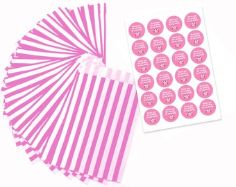 Pink & white paper party bags with 30mm pink owl stickers - 24 of each