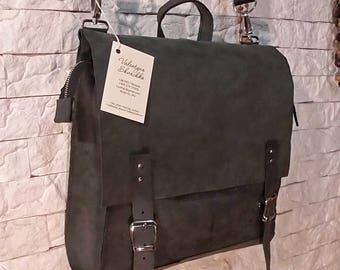 Handmade Pure Leather Square Bag/ big women grey Crossbody Laptop Messenger vintage Bag