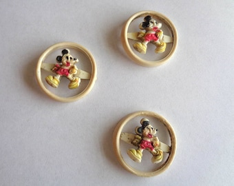 Three vintage Mickey Mouse Plastic Buttons