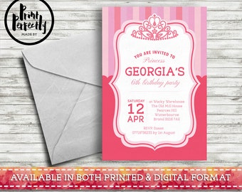 Pink Princess Stripe - Luxury Childrens Customised Birthday Party Invitations (Printed & Digital)