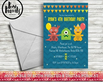 Girls and Boys Monster Bunting  - Luxury Childrens Customised Birthday Party Invitations (Printed & Digital)