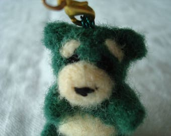 Needle felted miniature forest green teddy bear plush keychain