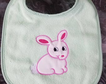 Mint Green Baby Bib with White Appliqued Bunny