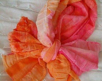 Pink/orange tie dye ruffle bow